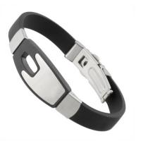 Buy cheap Black and silver sports silicon silicone slap bracelet for man from wholesalers