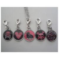 Buy cheap Epoxy resin skeleton charms keychains, poly resin skull bones pendants with lobster clip from wholesalers