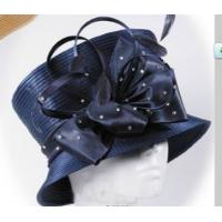 Blue Stylish Fabric Ladies' Church Hats , Big Bow For Festival Tonal Self Satin Braid Manufactures
