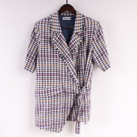 Buy cheap 50% Nylon 50% Rayon Seesucker Women'S Casual Blazers Fringes Checked from wholesalers