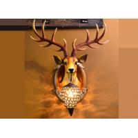 Buy cheap Resin Glass Led Wall Strip Lights Lucky Deer Head Lamp Hand - Painted Durable product