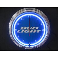 Buy cheap Promotional Gift Quartz Neon Light Wall Clock Aluminium Frame Glass Surface from wholesalers
