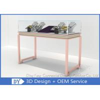 Buy cheap Gorgeous Rose Gold Stain Steel Glass Jewelry Store Showcases With Locks / Lights from wholesalers