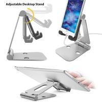 Multi-angle Folding Portable Silver Black Aluminum Tablet Stand For Smartphone / iPad With A Silicone Anti-slip Cover
