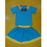 Wholesale Royal Blue And Mustard Children'S Cotton Pajamas Home Playwear Brother Sister 2pc Sets from china suppliers