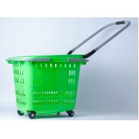Buy cheap Stackable 4 Wheels Plastic Shopping Basket / Movable Cloth Shopping Trolley On Wheels from wholesalers