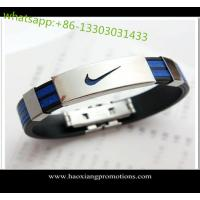 Buy cheap hot sale custom Silicone wristband with metal clasp from wholesalers