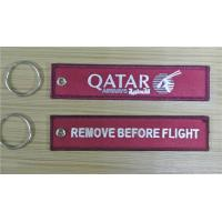 QATAR Airways Doha Airline Remove Before Flight Style Keyring Bag Tag Twill Fabric Material Embroidery Keychain Manufactures