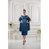 Buy cheap Knee Length Sweetheart Royal Blue Satin Ruffle Mother Of Bride Dress With Shawl from wholesalers
