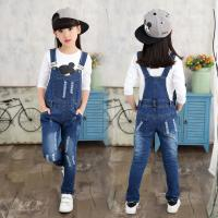 Buy cheap Customized Size Kids / Toddler Overalls Jeans With Patches Dark Blue Vintage Wash from wholesalers