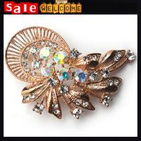 Buy cheap Large Golden Rhinestone Collar Pins,Mens Lapel Pin Rhinestone Clothing Lapel Pin Brooch from wholesalers
