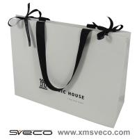 Buy cheap customized paper bag with ribbon handle,white paper bag from wholesalers