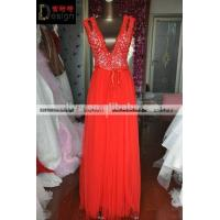 Buy cheap REAL Design Red Sleeveless Tulle V Neck Foor Lenght Online Shopping Girl Dress from wholesalers