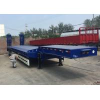 China Low Bed Semi Truck Trailer 3 Axles 80T Loading Construction Machine / Heavy Equipment on sale