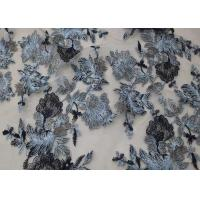Buy cheap CMA Approval Grey Flowers Embroidered Tulle Mesh Lace Fabric For Party Dress from wholesalers