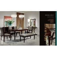 Buy cheap Light luxury wood furniture of dining room set by Long table with Upholstered dining chairs from wholesalers