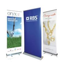 Buy cheap Best Seller Outdoor Advertising Flag Aluminum Stand Seasonal Retractable Display Promotional PVC Roll Up Banner from wholesalers