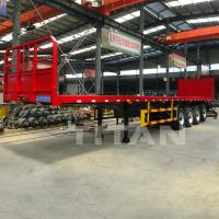 Buy cheap 4 axles high quality flatbed truck trailer chassis flatbed container trailers for sale from wholesalers