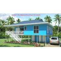 Wholesale Fireproof Two-Story Prefab Beach Bungalow , Blue Home Beach Bungalows Wooden Bungalow from china suppliers