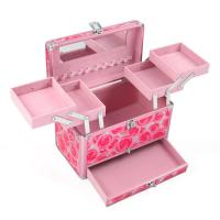 Wholesale Exquisite Pink Aluminum Cosmetic Case Fashionable with Mirror from china suppliers