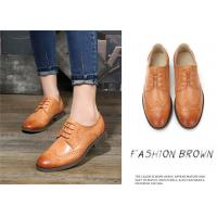 Buy cheap Plain Color Full Brogue Shoes , Derby Style Womens Leather Wingtip Oxfords from wholesalers