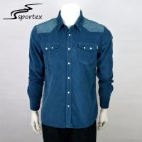 Buy cheap Mens Flannel Casual Dress Shirts , Dark Blue Button Down Shirt Plain Dyed Technics from wholesalers