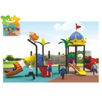 China Outdoor Playground Equipment Kids Outdoor Plastic Slide With Climbing Net on sale