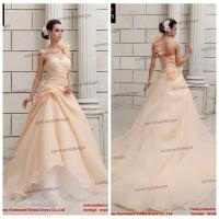 Buy cheap Real Sample Champagne Color Ruffled Organza Skirt Floor Length One Shoulder Wedding Dress from wholesalers