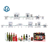 Buy cheap High Precision vial vodka wine alcohol bottle rinsing filling capping aluminium cap sealing labelling machine line from wholesalers