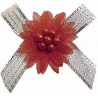 Customized Decorative Christmas Ribbon Bows With Bead Flower 196 colors Manufactures