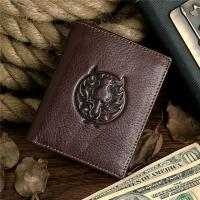 Buy cheap Men Real Genuine Leather Zip Button Bifold Wallet Zipper Coin Pocket Card Holder from wholesalers