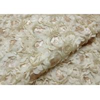 Buy cheap Romantic Champagne Rosette Sequin Lace Fabric , Nylon Bridal Mesh Fabric from wholesalers