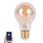 Buy cheap Amber Glass Body LED Light Bulb Alexa Voice Control, 5.5W A60 Smart Wi-Fi LED Filament Bulb from wholesalers
