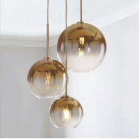 Buy cheap Nordic E27 gold and silver simple glass pendant light for living room from wholesalers