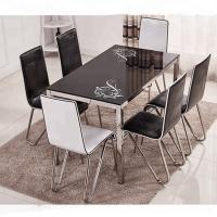 Buy cheap Fashionable Glass Dining Room Sets Beige / Black / Blue / Pink Optional from wholesalers