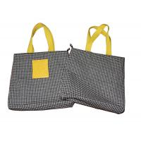 Buy cheap 6oz Dogtooth Black Canvas Fabric Carrier Bags Reusable With Zipper Closure from wholesalers