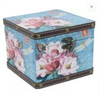 Buy cheap Square Shaped Floral Vintage Wooden Leather Multipurpose Keepsake Storage Cabinet Box Organizer Trumpet Chest from wholesalers