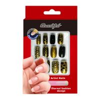 China Gold Dots glitter Nail Art Fake Nails Contain Imported nail glue For women on sale