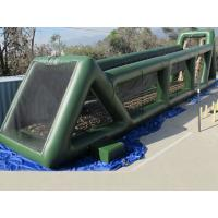 High 80ft Green Inflatable Sports Games Long Giant Inflatable Zip Line For Adults Manufactures
