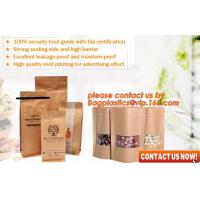 Buy cheap ziplock colorful printing stand up kraft paper bags with clear window,Brown kraft paper aluminum foil zipper plastic bag product
