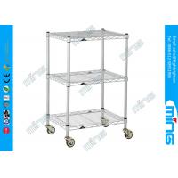Buy cheap 3 Tiers Chrome Mobile Wire Shelving with Wheels for Shoes Storage from wholesalers
