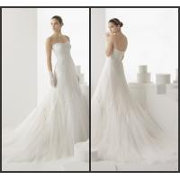 Wholesale Lace Womens Wedding Dresses , Strapless Court Train Tulle Pearls Wedding Gowns from china suppliers
