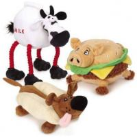 China Grriggles Lunchmates Plush Pet Toys Sound Chip Stuffed With Dog Cow Pig Shaped on sale