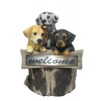 Buy cheap Hand Cast 3 Puppies Welcome Garden Solar Light for Backyard OEM Acceptable from wholesalers