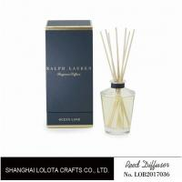 Buy cheap Clear Round Bottle Glass Reed Diffuser With Blue Rigid Gift Box Packaging from wholesalers