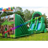 Green Forest Inflatable Slide Zip Line Crazy With 21L x 6W x 11H Meter Manufactures