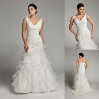 Buy cheap Beaded Flower Applique Mermaid Bridal Ball Gown Dresses Custom Made from wholesalers