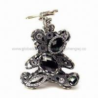 Fashionable Cutely Teddy Bear Black Crystal Jewelry Metal Fancy Keyholders, Ideal for Promotions Manufactures