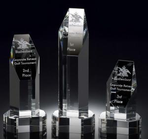 helsinki tower deluxe crystal award/2d laser tower crystal award/3d crystal hexagon award