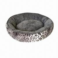 Wholesale 2-tone Suede Leopard Dog Bed, Leo Micro Fleece Wall with Suede Sleep Surface from china suppliers